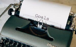 Goals on paper in a typewriter
