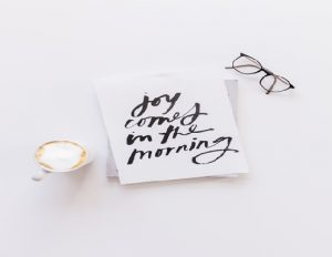 Joy comes in the morning notelet and glasses