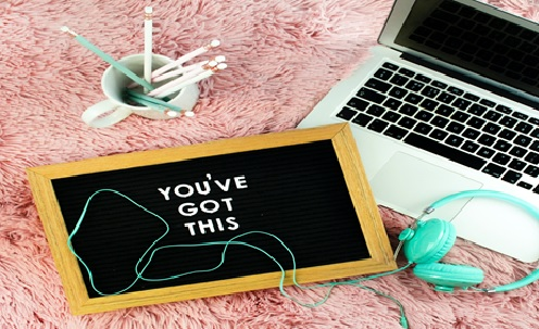 You've got this - computer and chalk board