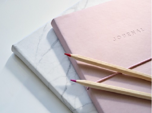 Close up of two journals and pencisl